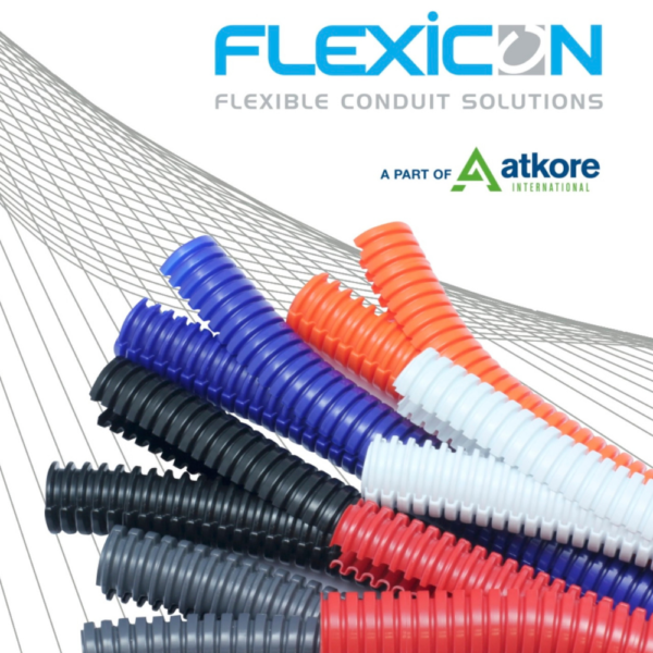 different colour variations of the Flexicon divisible dual slit flexible conduit along with the Flexicon and Atkore logo