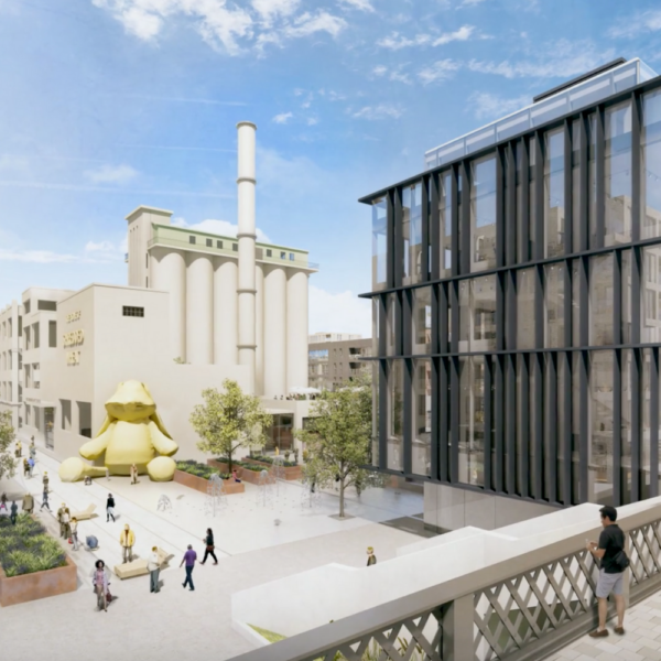 an architectural render of a building project, stills shot taken from a video produced for Assa Abloy
