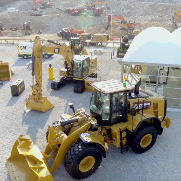 Plant machinery at the Hillhead show, a stills image taken from a video produced for Finning