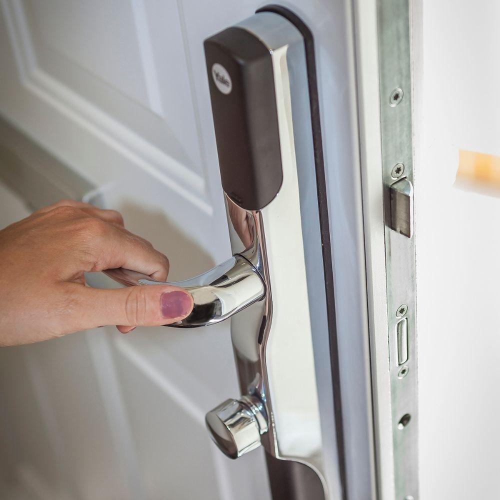 Yale door lock being opened