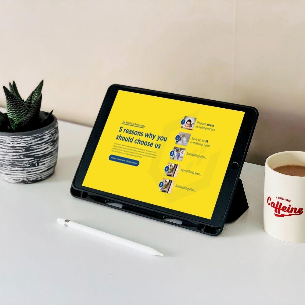 Build aviator website on tablet