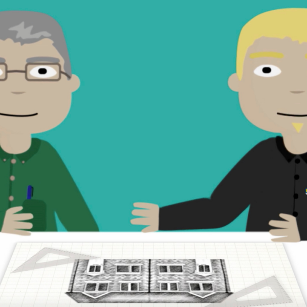 two animated characters looking at a house design, a still image taken from a video produced for Build Aviator
